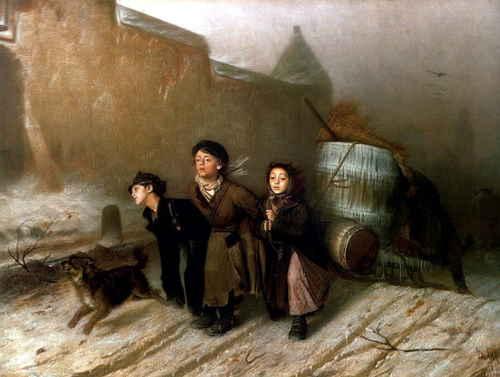 Василий Перов. Тройка. Ученики-мастеровые везут воду. 1866, ГТГ
