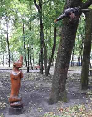 """Скульптура """"Ворона и Лиса"""" (Парк им. А.К. Толстого, Брянск)"""