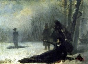 Художник Адриан Волков, картина «Пушкин на дуэли» (1860-е гг.).