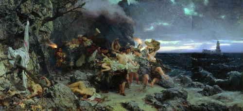 Оргия времен Тиберия на острове Капри, Семирадский Генрих Ипполитович, 1881 г., ГТГ