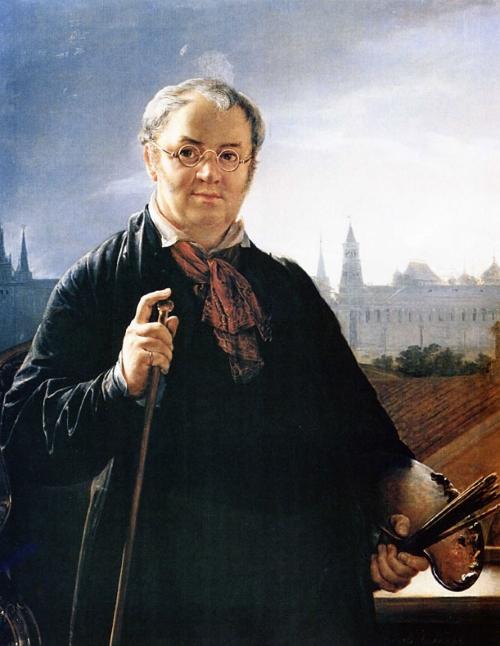 Автопортрет Василия Тропинина с кистями и палитрой на фоне окна с видом на Кремль (1844 г.)