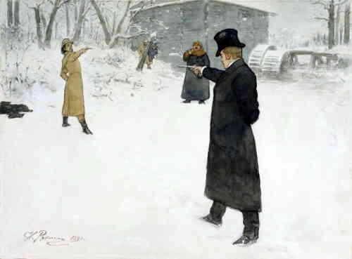 Дуэль Онегина и Ленского, художник И.Е. Репин, 1899 г.