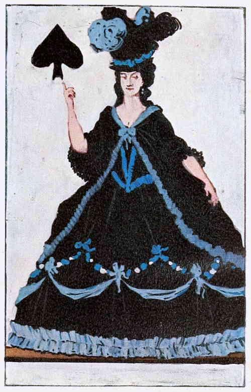 Пиковая дама, означает тайную недоброжелательность. Художник А. Н. Бенуа (1910 г.)