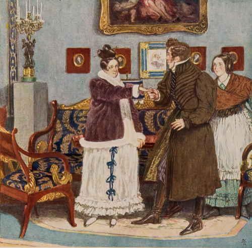 Действие 1, явление 7 (Горе от ума). Первая встреча Чацкого с Софией после разлуки (художник Кардовский Д.Н.)