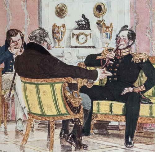 Действие 2, явление 5 (Горе от ума). Чацкий, Фамусов и Скалозуб (слева направо) (художник Кардовский Д.Н.)