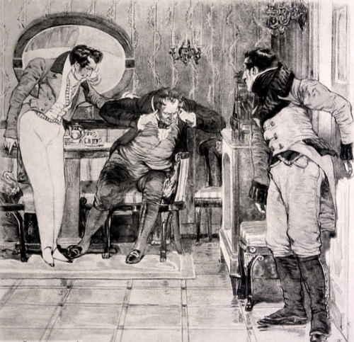 Действие 2, явление 3 (Горе от ума). Фамусов заткнув уши: «Не слушаю, под суд! под суд!» (художник Кардовский Д.Н.)