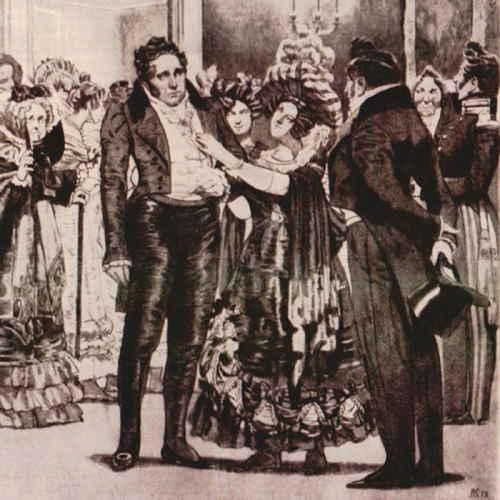 Действие 3, явление 6 (Горе от ума). Платон Михайлович, Наталья Дмитриевна и Чацкий. (слева направо) (художник Кардовский Д.Н.)
