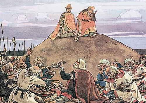 Иллюстрация к «Песнь о вещем Олеге» (художник Васнецов В.М.)