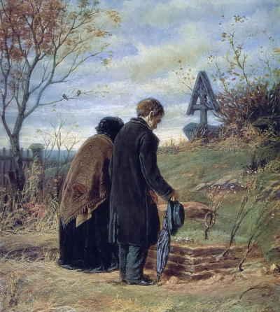Старики-родители на могиле сына (художник В. Перов, 1874 г.)