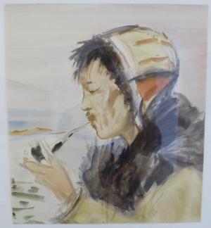 Чукча с трубкой. Кондратьев П.М., 1953 - 1959 (Ярославль. Музей зарубежного искусства)