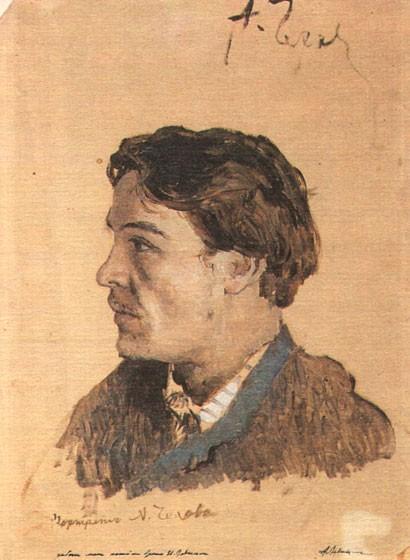 Портрет Чехова, написанный Исааком Левитаном