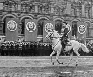 Георгий Жуков на белом коне на параде Победы