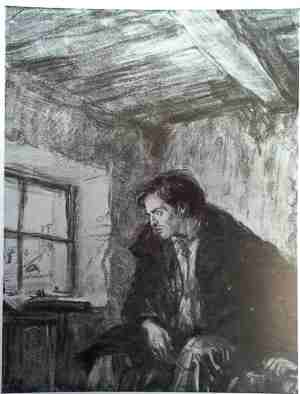 Раскольников в своей комнате.  Художник Д. А. Шмаринов
