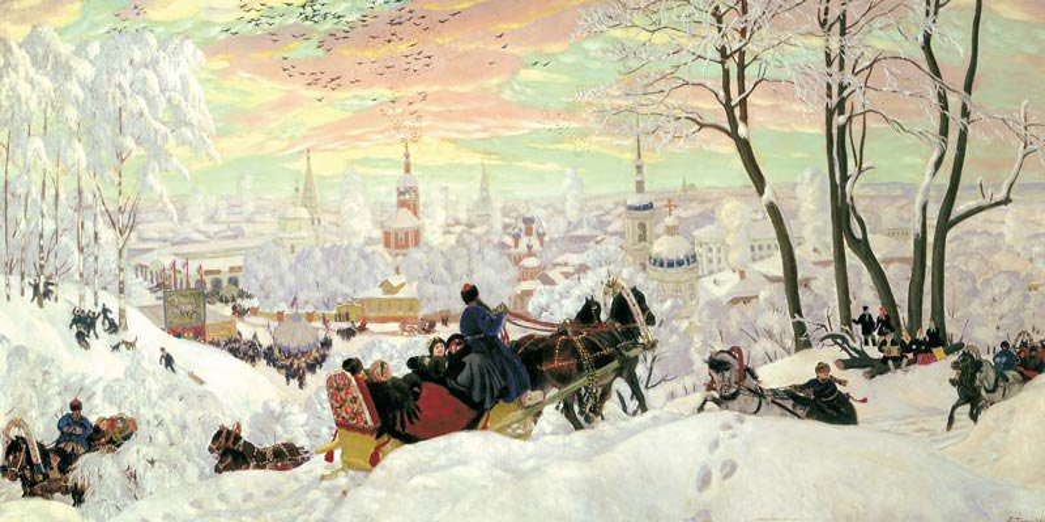 Блинный вторник/Масленица. Б. М. Кустодиев. 1916 г.