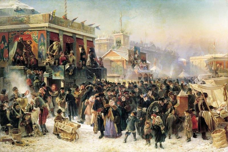 Народное гулянье во время Масленицы на Адмиралтейской площади в Петербурге. К.Е.Маковский, 1869