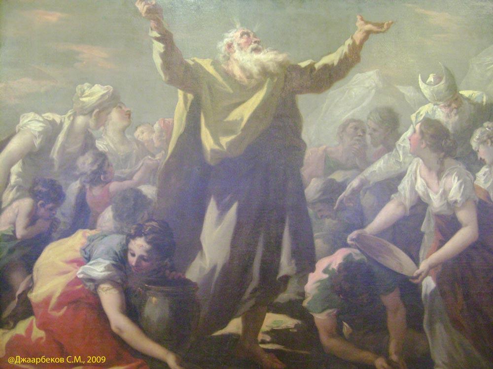 Картина Моисей в пустыне. Сбор небесной манны. Джованни Антонио Пеллегрини