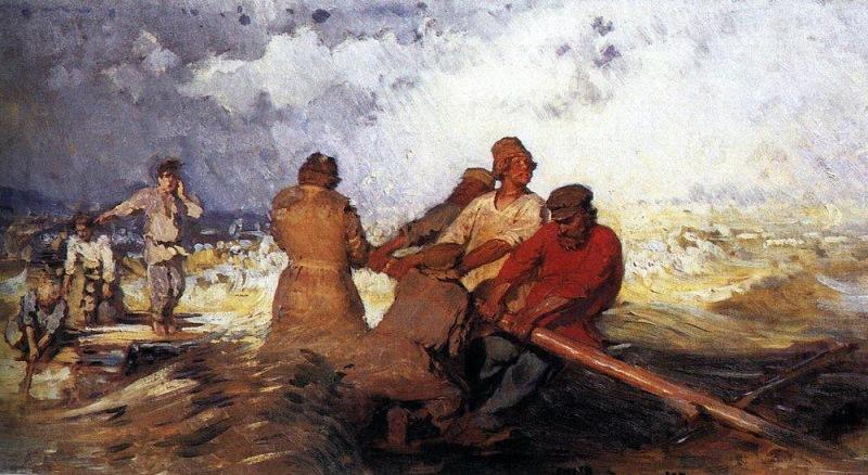 Шторм на Волге. Репин И.Е., 1870-1891