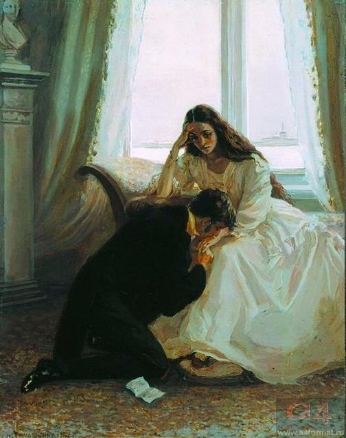 Последняя встреча Онегина с Татьяной (1952 г.). Художник Л. Тимошенко